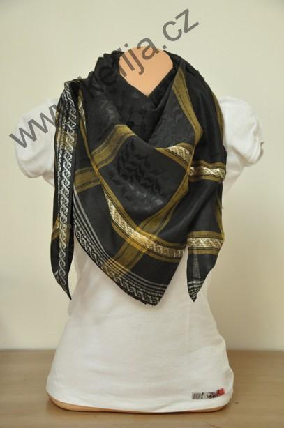 Palestina šátek černý se zlatou  81a04bbe03